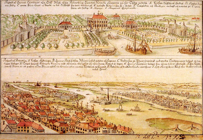 View of St. Petersburg (Peter and Paul fortress and Spit of Vasilievky Island, 1715 Author: Paul Betun, Swedish engineer