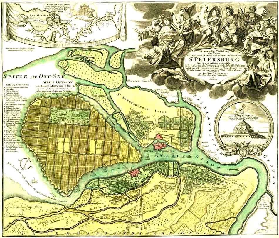 Plan of Saint Petersburg with a draft layout of Basil island, prepared by Domenico Trezzini (author Hoffmann, Nuremberg), 1717